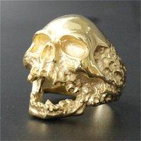 ingrosso disegni anelli freschi per gli uomini-Supporto Dropship Personal Design Golden Plated Evil Skull Anello 316L in acciaio inossidabile Man Boy Biker Style Cool Skull Ring
