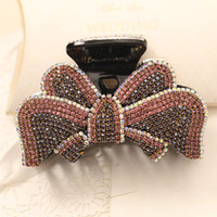 Wholesale black rhinestone crystal barrette for sale - Group buy Hot Bowknot Barrettes with crystals and diamonds Bling Bling Clamps Japanese Korean style Hair clips Luxury Rhinestone Swarovski Jewerly