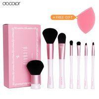 Wholesale Nice Gift Set - Professional Makeup Brush Set 7pcs High Quality Make Up Tools Kit Pink and White Makeup Brushes with Bag and Nice Gift Box