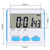 Compra Ora Digitale Del Timer Della Cucina-2017 Nuovo Ampio display LCD Magnetic Digital Kitchen Timer 24 Ore Count-Down Up Alarm Clock Timer con allarme forte e grande schermo
