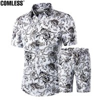 Wholesale Mens Polka Dots Shirt - Wholesale- Two Piece Shorts Men Sets Shirts+Shorts Summer 2016 New Fashion Short Sleeve Slim Shirt Ten Printing Designs Mens Clothing M-5XL