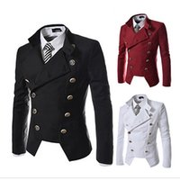 Wholesale Single Collar Mens Suit - Autumn Winter Casual Marque Blazer Denim Male Clothing Formal Slimming Suit for Mens Double Breasted Jacket & Coat Steampunk