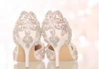 elmas beyaz düğün topuklu toptan satış-Toptancı ücretsiz kargo beyaz kristal elmas gelin yüksek topuk gelinlik ayakkabı sivri burun sandalet seksi lady ayakkabı 361