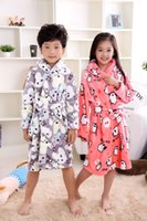 Flanell Jungen Cartoon Bär peignoir enfant Kleid Kapuzen Roben Kinder Bademantel Kinder Winter Grau Home Wear Soft Pyjamas