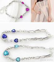 Wholesale Heart Ocean Jewelry Set - Hot Sale The Heart Of Ocean Charm Bracelet Austrian Crystal Love Heart Chain Bracelets Women Bangles Jewelry for Wedding Christmas Party