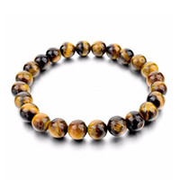 Wholesale Tigers Eye Buddha - Tiger Eye Bracelets Bangles Elastic Rope Natural Stone Bracelets For Women and Men Jewelry Pulsera Vintage Buddha Bracelets Beaded, Strands