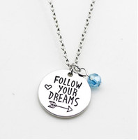 "Wholesale Initial Charms Pendant - 12pcs lot Inspirational Necklace Love necklace ""follow your dreams"" Arrow Charm pendant Necklace Dream jewelry for Wo men gift"