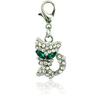 Wholesale Cat Eyed - New Arrival Floating Charms With Lobster Clasp Dangle Rhinestone Green-eyed Cat Animals Pendants DIY Jewelry Accessoreis