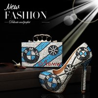special occasion shoes women - Luxury Designer Handbag Women Fashion Blue Dress Shoes Tote Bags Ladies Wedding Special Occasions Evening Party Club Clutch Bags Rhinestones