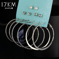 Wholesale Vintage Clip Earrings Pearl - 17KM Simulated Pearl Clip Cuff Earring Set For Women Vintage Punk Gold Silver Color Crystal Earrings Party Jewelry 6 Pairs Set