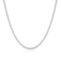 Wholesale Wholesale Chain Pendants China - Good Gift 925 Sterling Silver 2MM Flat Curb Chains Necklace Fit All Pendant Necklace Mix Size 16-24inch