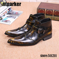 Wholesale High Heeled Shoes For Men - New Italian Style Boots Men High Top Bronze Men Boots Pointy Toe Ankle shoes Boots for Men, Big size 45 46