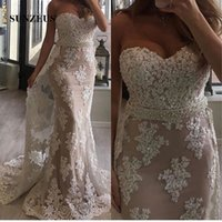 Wholesale Sweetheart Natural Waist White Dresses - White Lace Mermaid Formal Evening Dresses Sweetheart Off the Shoulder Elegant Long Evening Gowns Beaded Waist Luxurious