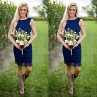 Wholesale Knee Length Western Wedding Dresses - Royal Blue Sheath Lace Short Country Bridesmaid Dresses 2017 Cheap Jewel Zipper Back Knee Length For Western Causal Wedding Custom Made