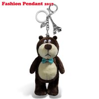 Wholesale Teddy Bear Girl Boy - 15CM Bow Tie Teddy Bear Mini Plush Keychain Bear brown Toy Phone Pendant Animal Plush Toys Dolls dhl shipping