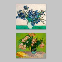 Wholesale Iris Mm - 2 Pcs Set No Framed Van Gogh Flowers Still Life Vase With Irises Decoration Wall Art Pictures Canvas Paintings For Living Room Home Decor