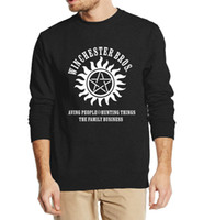 Wholesale Winchester Sweatshirt - Wholesale-New arrival Supernatural Winchester Bros men sweatshirt hoodies 2016 autumn winter style men hooded slim fit hip hop streetwear