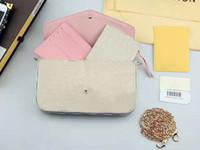 Wholesale Wristlet Purse Designer - Top quality L Brand crossbody bags Genuine leather Pochette Felicie WOC Chains Bag Handbag Designer Purse Felicie Bags 3 set Bags CX#32