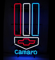 """Wholesale Camaro Bar - Chevrolet Bowtie Camaro Neon Sign Handcrafted Custom Real Glass Commercial Cars Compay Store Garage Advertising Display Neon Signs 12""""X19"""""""