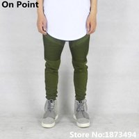 Wholesale Taper Pants Man - Wholesale-USA size Hip Hop streetwear clothing mens olive green biker sweatpants pleated skinny joggers tapered slim fit pants kanye west