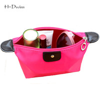 Wholesale Little Green Pouches - Wholesale- HDWISS Colorful Solid Toiletry Bag Cosmetic Bags Necessaire Makeup Bag Make up Case Little Pouch CB001