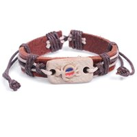 Wholesale Wholesale Tortoise Bangles - Europe and America vintage Primitive painted pottery tortoise 2016 fashion jewelry unisex Genuine leather charm cowhide bangle wholesale