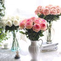 Wholesale Flower Dahlias - Flannel Flowers For Wedding Artificial Flower Wedding Bouquet Roses Dahlias Fall Vivid Fake Leaf Wedding Flower Bridal Bouquets Decoration