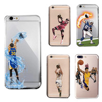 Wholesale apple basketball - Curry Kobe James phone cases for iphoneX iphone 8 7 6 6s plus s7 edge S8 hard PC painting cover shell basketball defender case GSZ398