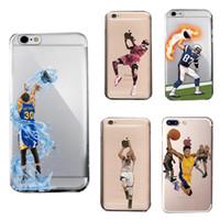iphone hard kapaklı telefonlar toptan satış-Curry Kobe LeBron Tasarımcı Telefon Kılıfları iphone için X XR XS Max 8 7 6 artı S8 S9 sert PC Boyama Kapak Kabuk Basketbol Durumda Gövde GSZ398