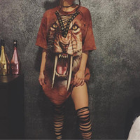 Wholesale Totem Skirts - Fashion Tiger print lace up short sleeve dress panther Totems Printing ladies shirts hollow out one piece T shirt skirt