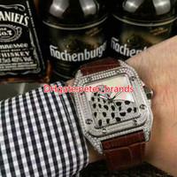 Wholesale Diamond Edition - Famous brand men's men's wear luxury diamond watch automatic mechanical silver-shell leopard dial original watch with a diamond watch
