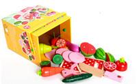 brinquedo de corte de madeira venda por atacado-Novos blocos de madeira Kichen brinquedo Cut Fruit jogo bebê simulação toy baby education baby gift