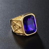 Wholesale Red Gemstone Rings - Hot selling 18K Gold filled Gemstone men ring stainless steel single stone rings masonic symbol jewelry