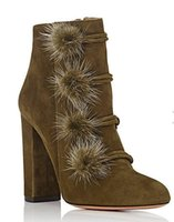 Wholesale Army Heels - 2017 winter Quality aquazzura army suede & Fox fur High Heels Women Boots Sexy women ankle Boots Autumn Quality Plus Size 35-41 with bo