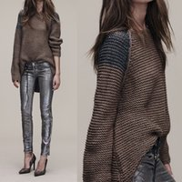 Wholesale Womens Long Sweater Poncho - Wholesale-Knitted Pullover Womens Sweaters Pull Femme Knitwear Poncho Jumper Cotton Patchwork Coffee Autumn 2016 Female Plus Size Female