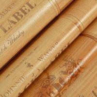 ingrosso scatola di legno pvc-Wholesale- Vinile PVC Legno scatola di carta da parati effetto 3D Decor Cork Plaid Wine Box Sfondo carta da parati Legno Vintage parete wallpap sfondo