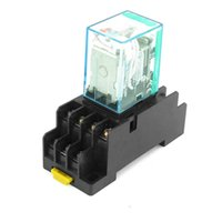 Wholesale 12v Relay Socket Pin - 12V DC   24V DC Coil 4PDT Plug-in Mini Power Relay MY4NJ HH54P-L 14 Pins w DYF14A Base Socket