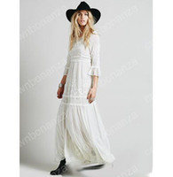 Wholesale White Boho Tunic - Spring Summer Women Vintage Ethnic Embroidery Hippie Boho People Cotton Linen Tunic Short Loose Long Dresses robe longue