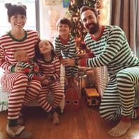 Wholesale Wholesale Childrens Pyjamas - Christmas Pyjamas Childrens Pajamas Wholesale Girl Kids Sleepwear Suits christmas stripes pajamas family set match adult clothes A00026