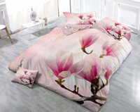 Wholesale Magnolia 3d Bedding - Custom Drawings Can be Customized 3D Charming Pink Magnolia Digital Printing Cotton Satin 4-Piece Duvet Cover Sets Bedding Sets