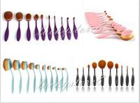 Wholesale Wholesale Purple Tools - Professional Makeup brush Oval Toothbrush Women 10pcs Foundation Eye Shadow Blusher Soft Shape Curve Brushes Makeup Tools pink blue DHL free
