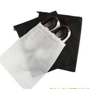 Wholesale travel shoe bags wholesale - Free shipping 50pcs Big 29X35cm Travel Storage Shoe Dust-proof Tote Dust Bag Case black white Non-Woven Travel Shoe Storage Bag