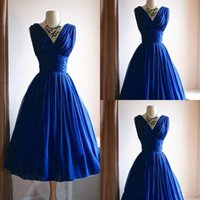Vintage 1950s Blue A Line Prom Kleider Real Fotos Custom Made Günstige Tee Länge Party Abendkleider Plus Size Frauen Formal Gelegenheit tragen