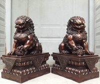 """Wholesale Metal Lion Statue - Collectible 18"""" China Pure Bronze Copper Tutelary Door Guardian Fu Foo Dog Lion statues Pair Free"""