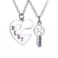 Wholesale Heart Pendents Wholesale - 2017 Fashion New Style Peach Heart Key Pendents Carved Best Friends Combination Necklace Set Brothers Girlfriends Gifts Drop Shipp
