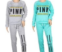 Wholesale Women S Sweat Outfit - Hot sales Pink Sweat Suits Women Hooded Hoodie Set Loose Long Pant Suit Casual Autumn Letter Print Tracksuits Women Workout Outfits