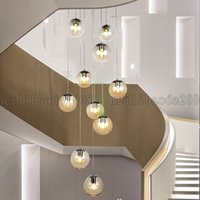 BE58 MODO Glass Ball Spiral / Aleatório Long Chandelier Pendant Lamp Lights Droplights para Staircase Duplex Floor Living Room Mall Villa Hotel