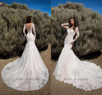 Wholesale Autumn New Models - New Arrival 2018 Mermaid Wedding Dresses Sheer Long Sleeves Illusion Back Bridal Gowns Full Lace Vintage Wedding Gowns Custom Made