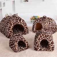 Wholesale 2016 New Pet Product Cat House Bed Foldable Soft Winter Leopard Dog Bed Strawberry Cave Dog House Kennel Nest Dog Fleece Cat Bed