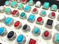 turkuaz renkli düğün toptan satış-Erkek kadın mix stilleri antik gümüş vintage Turkuaz taş yüzük Hediye Parti Alyans 50 adet Lot Toptan